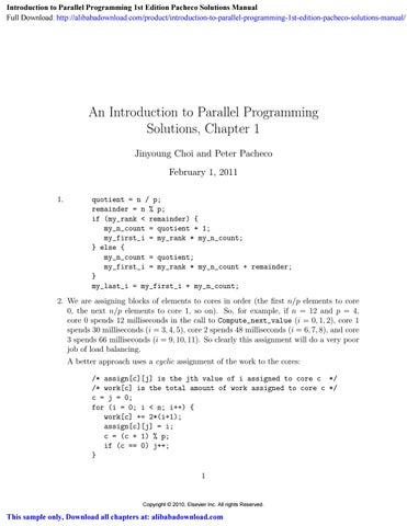 Introduction To Parallel Programming 1st Edition Pacheco Solutions Manual By Iona Leon Issuu