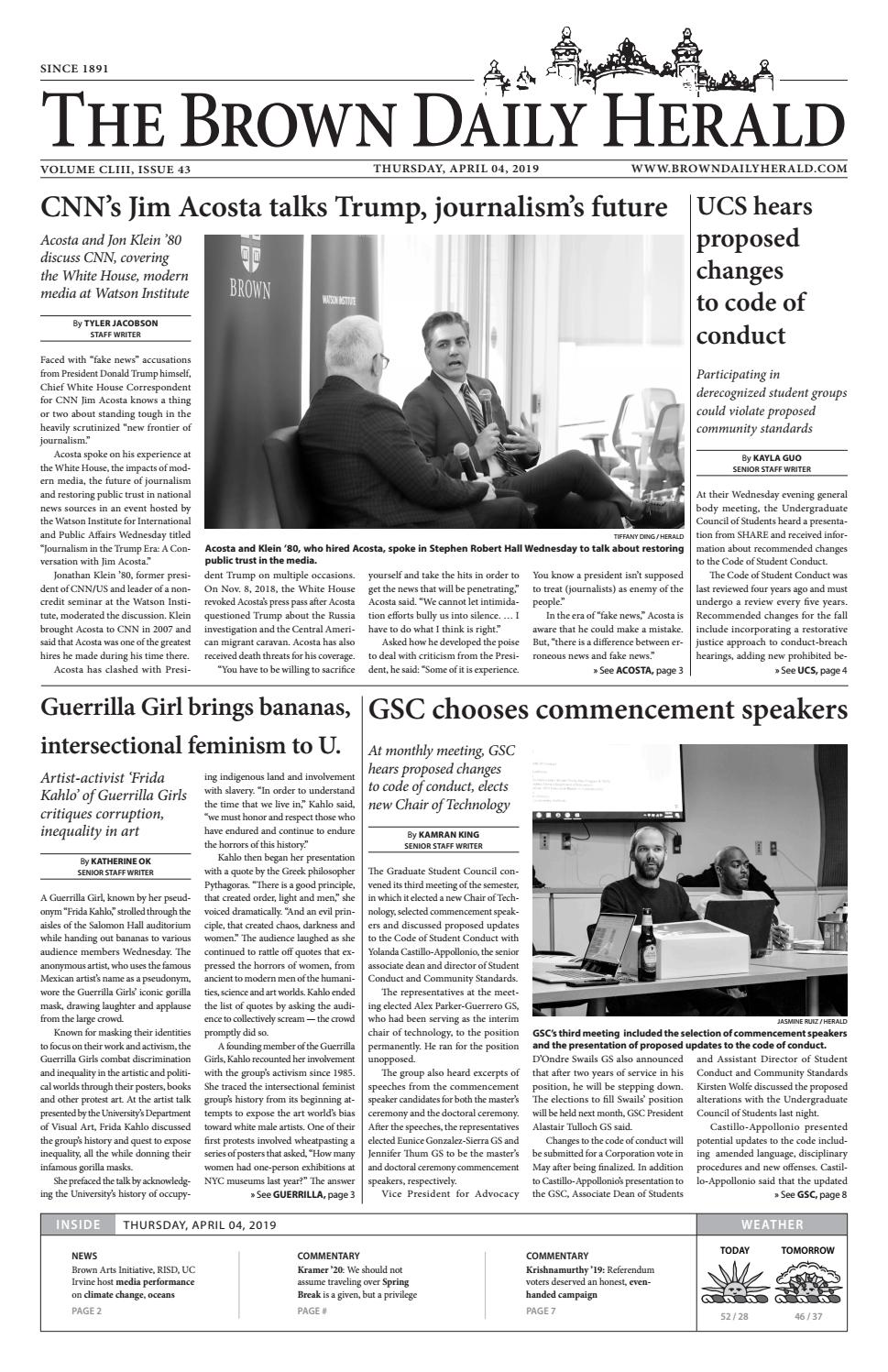 Thursday, April 04, 2019 by The Brown Daily Herald - issuu