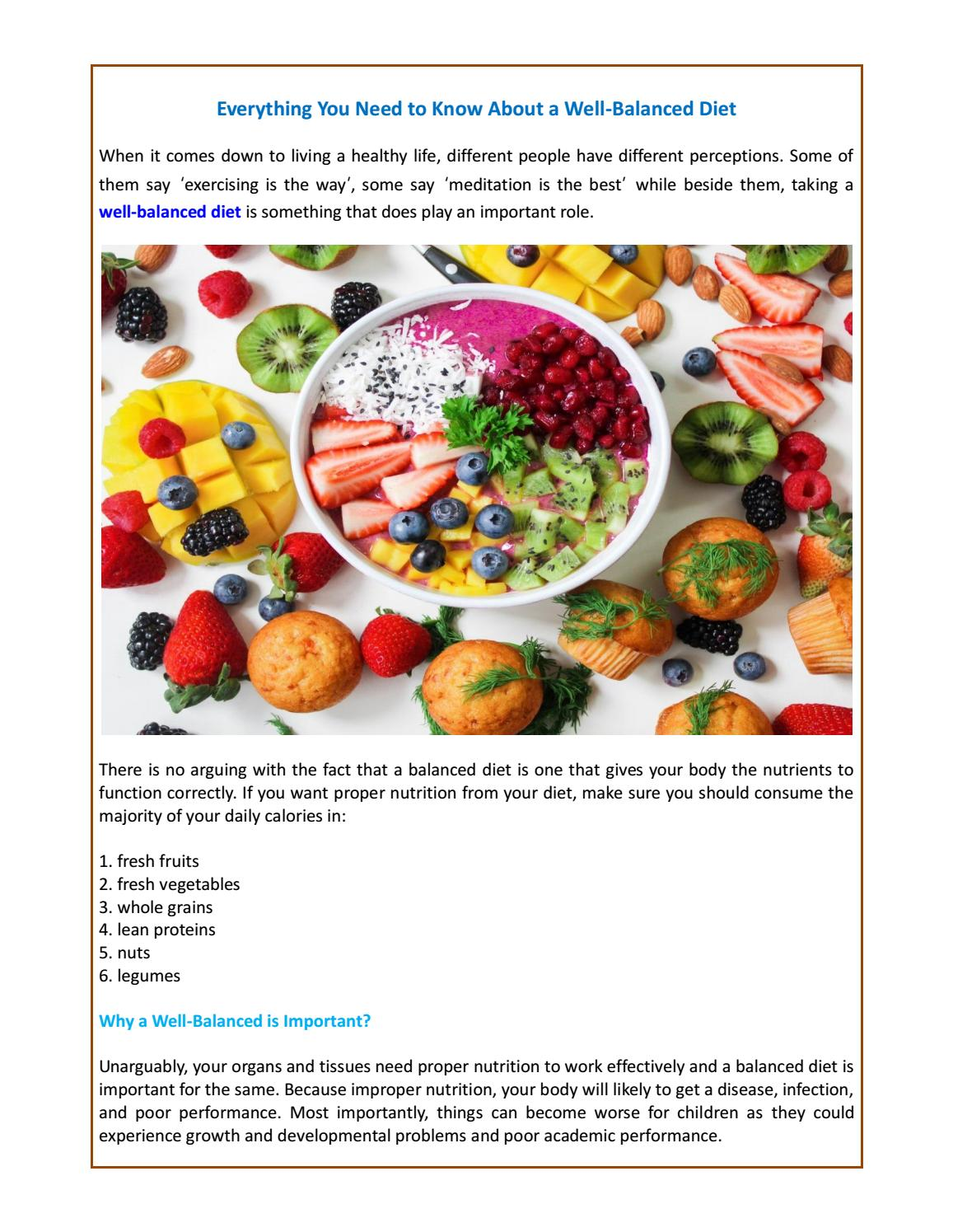 Everything You Need To Know About A Well Balanced Diet By Luke Albert Issuu