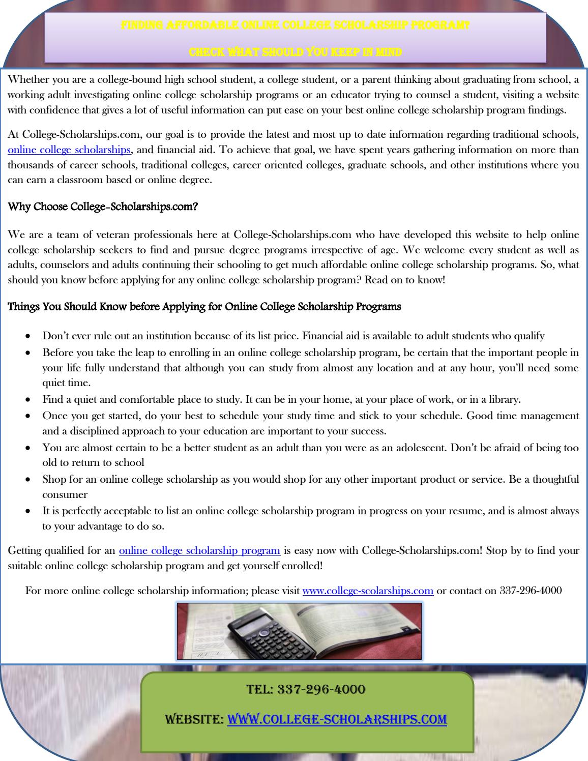 Finding Affordable Online College Scholarship Program? Check What