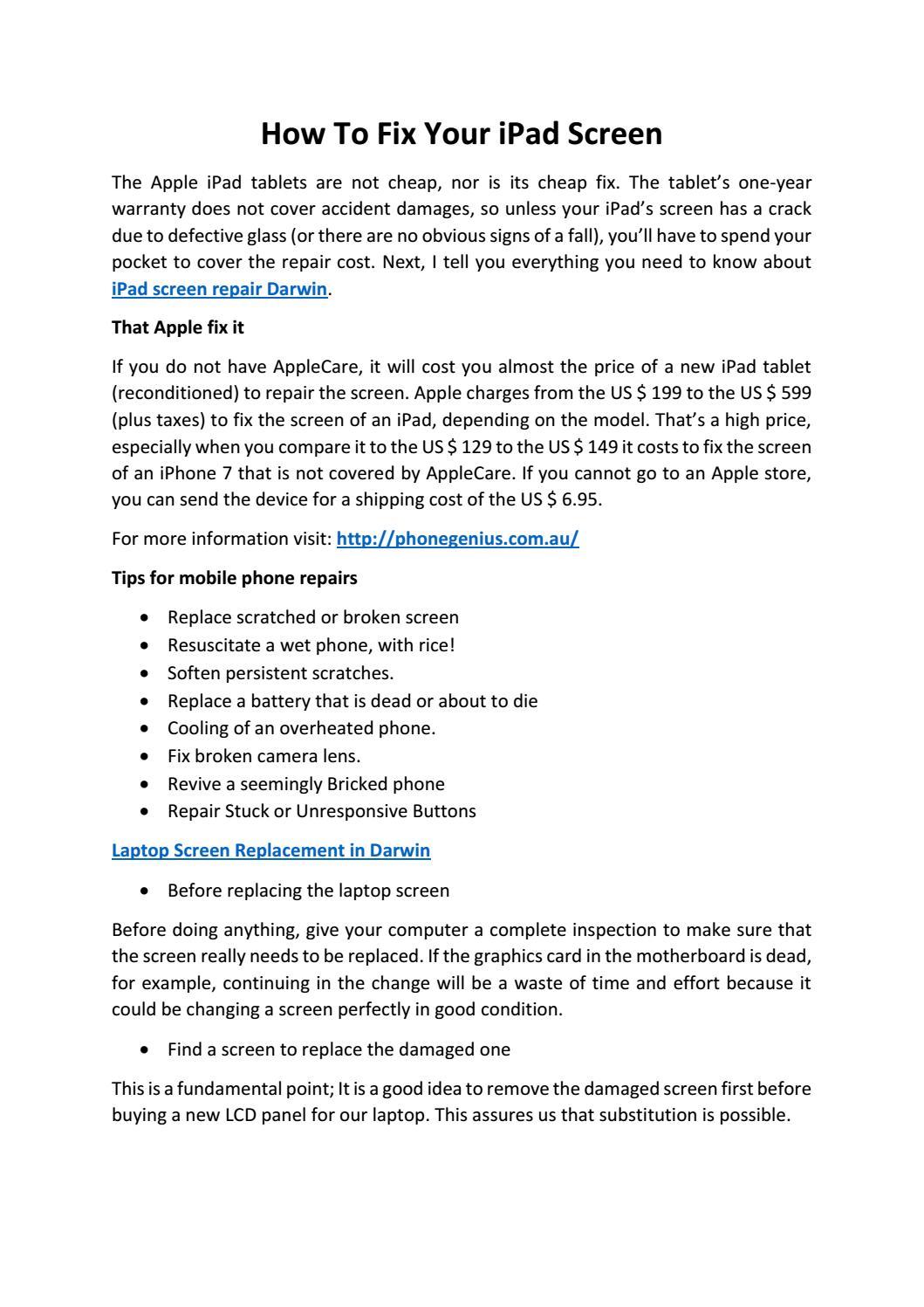 How To Fix Your iPad Screen by Anshul kumar - issuu