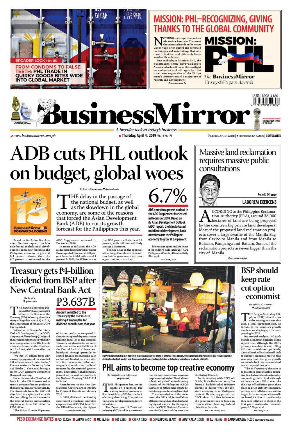 BusinessMirror April 04, 2019 by BusinessMirror - issuu