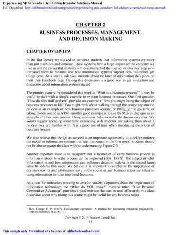 Experiencing MIS Canadian 3rd Edition Kroenke Solutions