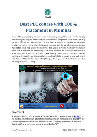 Best PLC course with 100% Placement in Mumbai by Taact