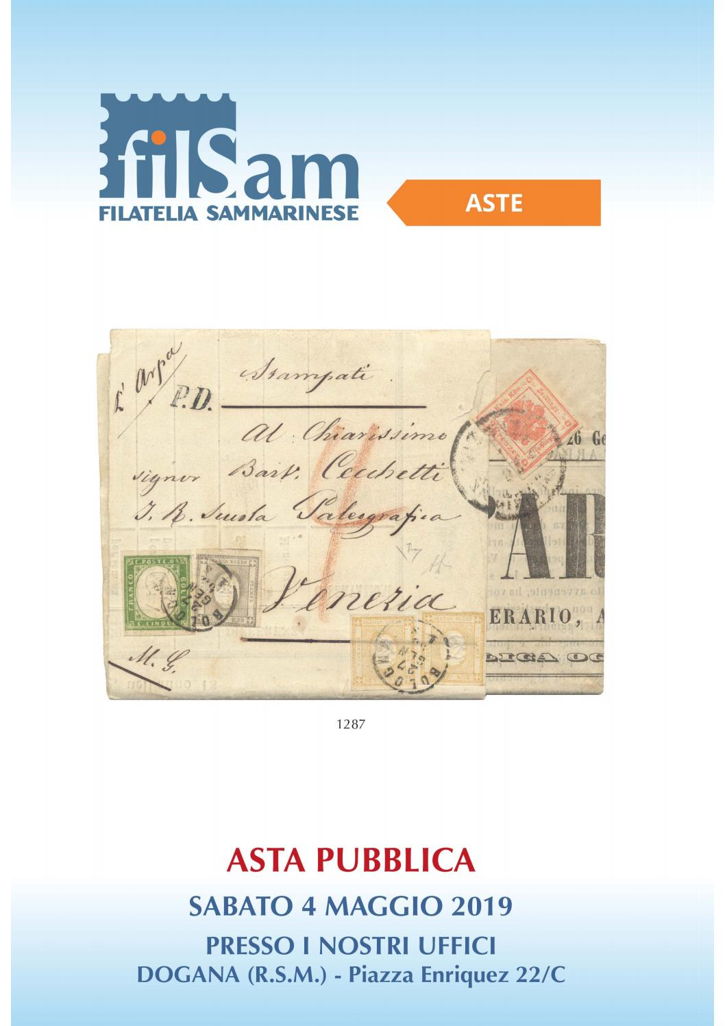 I Sarti Italiani Montelepre asta pubblica 4 maggio 2019 by filatelia sammarinese s.r.l.