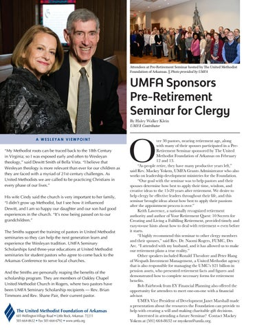 Page 2 of UMFA Sponsors Pre-Retirement Seminar for Clergy