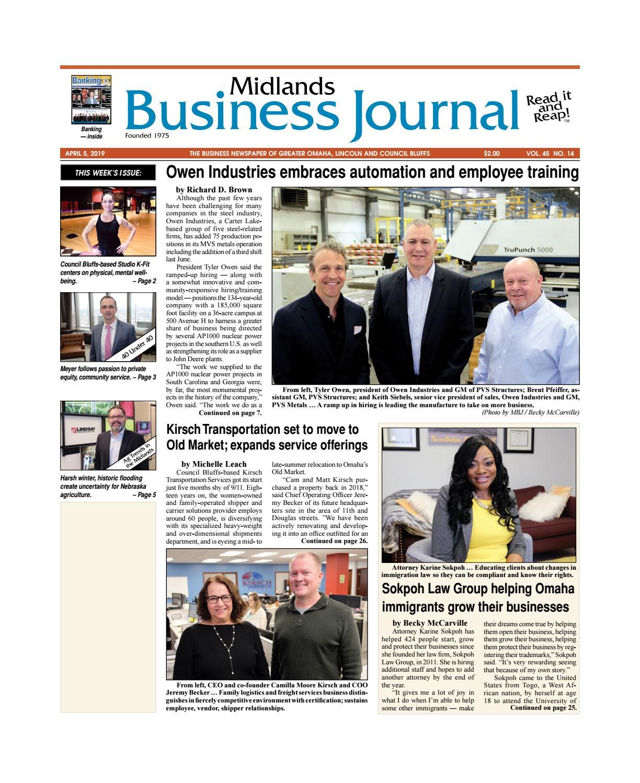Midlands Business Journal April 5, 2019 Vol  45 No  14 issue