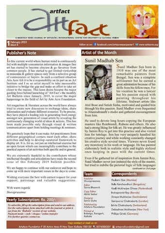 Page 1 of Editorial  / Artist of the Month: Sunil Madhab Sen