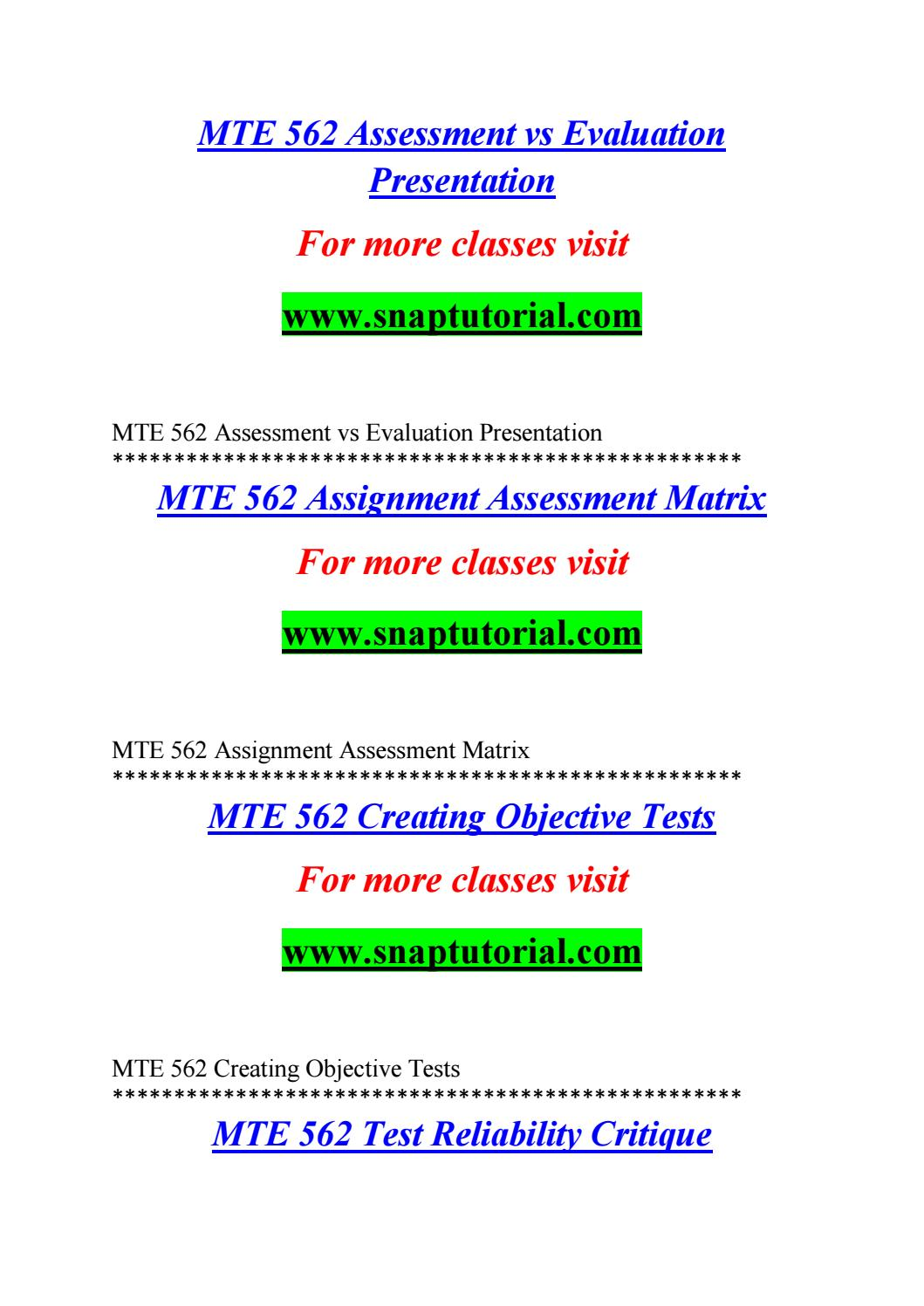 Mte 562 Enhance Teaching Snaptutorial Com By C U N N I N G H A M Barker Issuu It is done by the teacher, senior teacher and the supervisor at the end of the term or the whole year. issuu