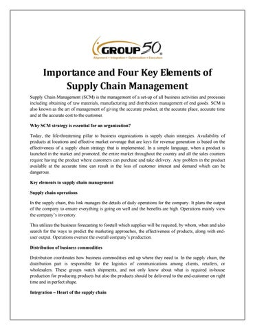 Importance and Four Key Elements of Supply Chain Management