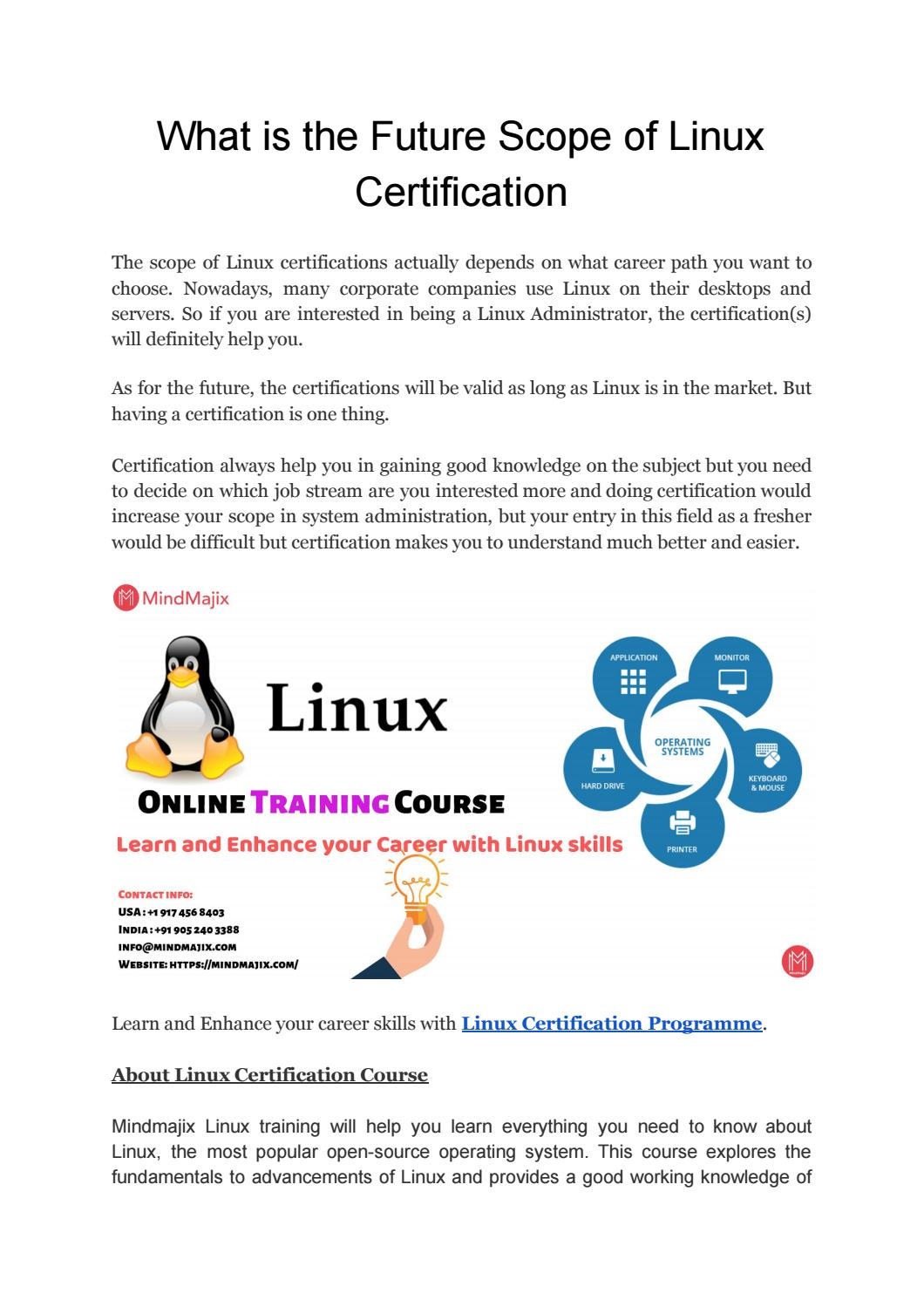 Linux Certification Training and Future Career Scope for