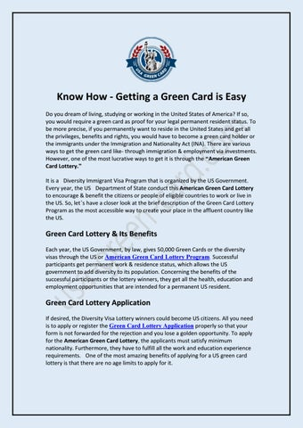 Know How - Getting a Green Card is Easy by usgreencard - issuu
