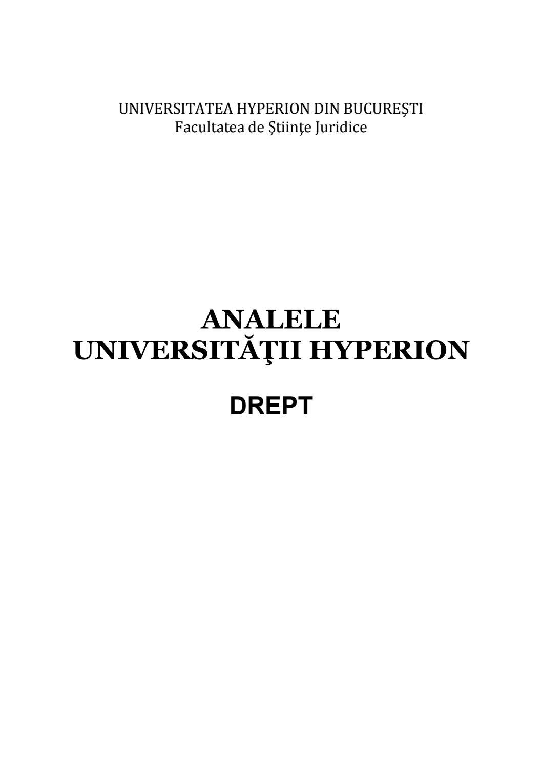 ANALELE UNIVERSITĂŢII HYPERION DREPT 2018 by Eugen Cornel