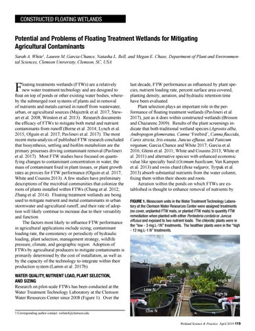 Page 51 of Potential and Problems of Floating Treatment Wetlands for Mitigating Agricultural Contaminants