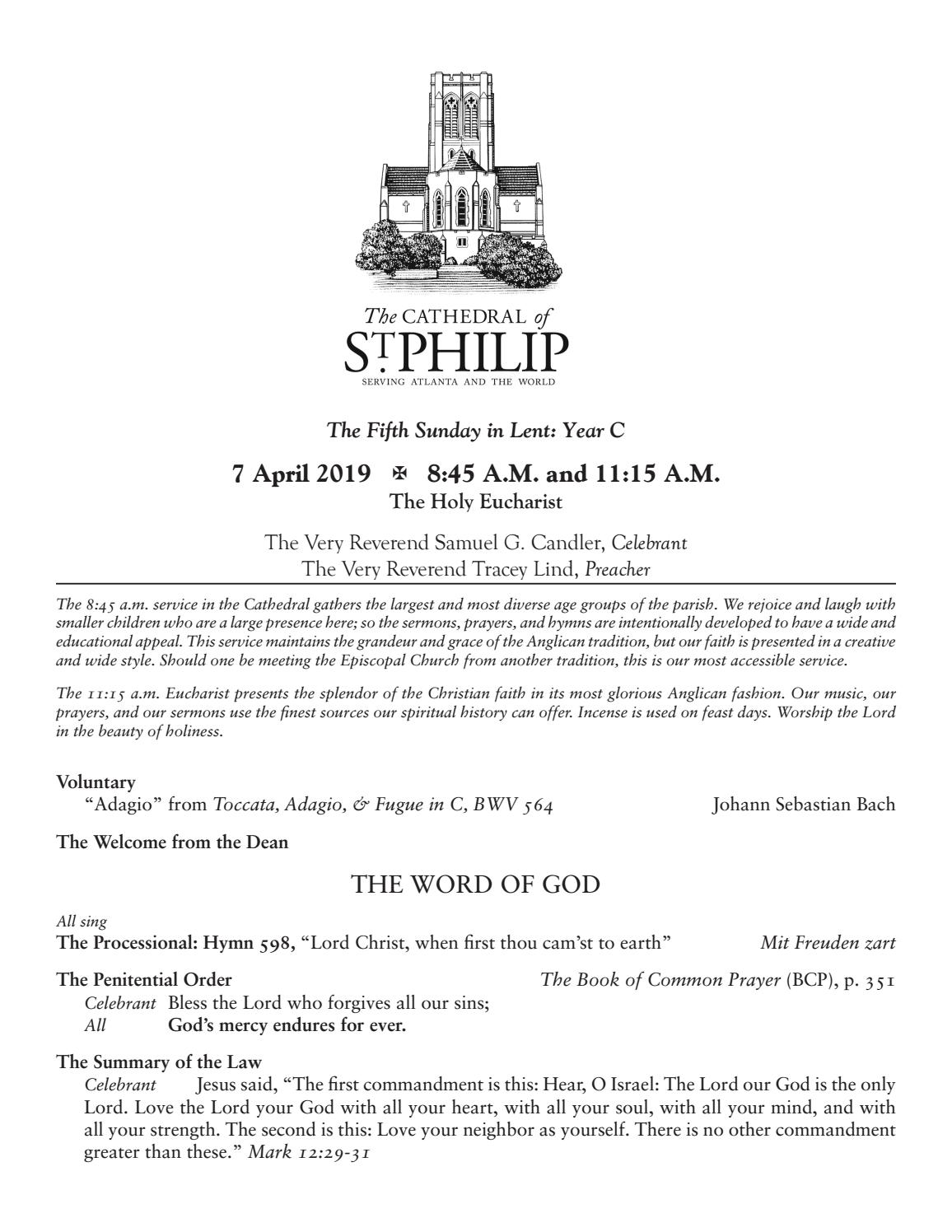 Service Leaflet – April 7, 2019 by The Cathedral of St