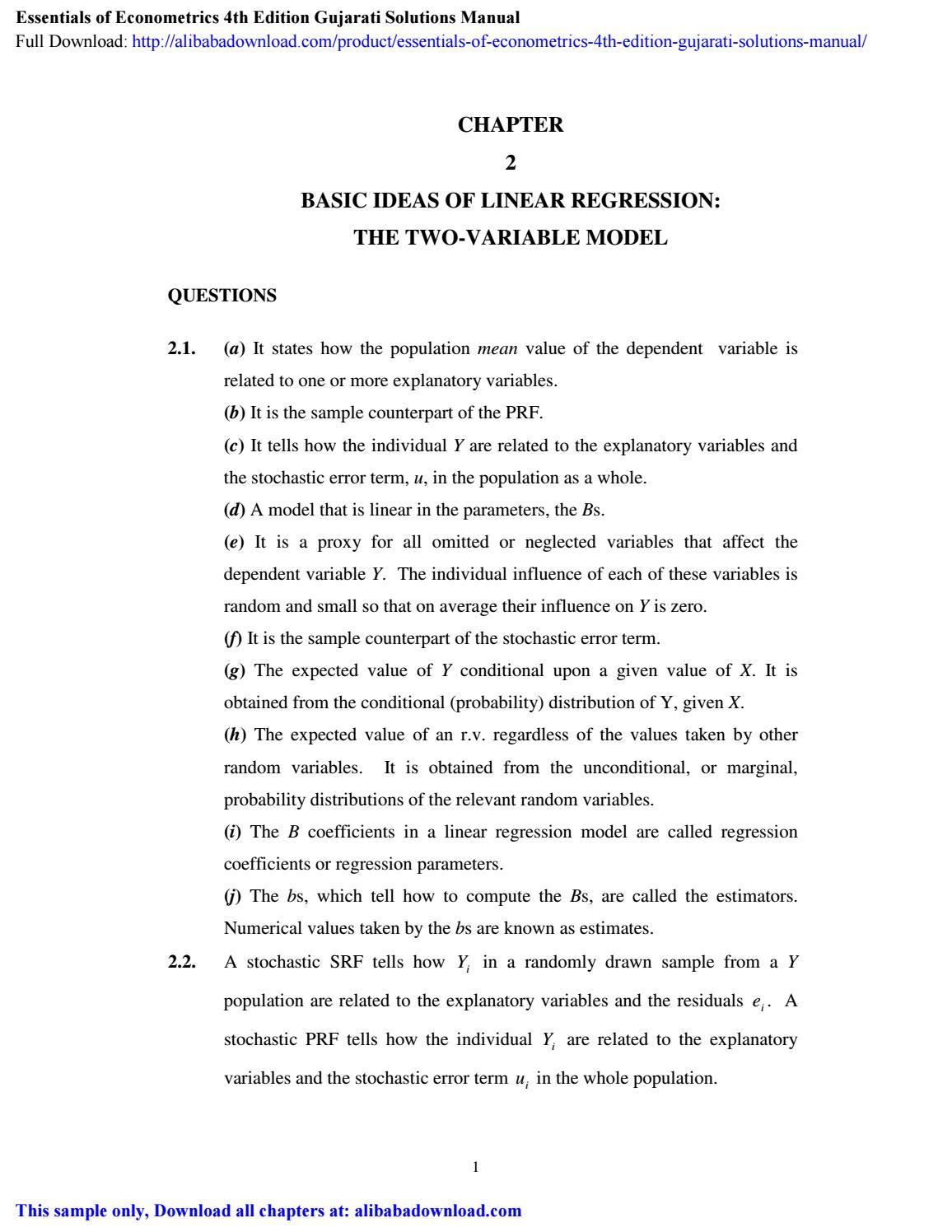 Essentials Of Econometrics 4th Edition Gujarati Solutions Manual By Carl Bentley Issuu