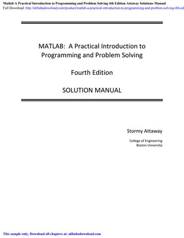 Matlab A Practical Introduction To Programming And Problem