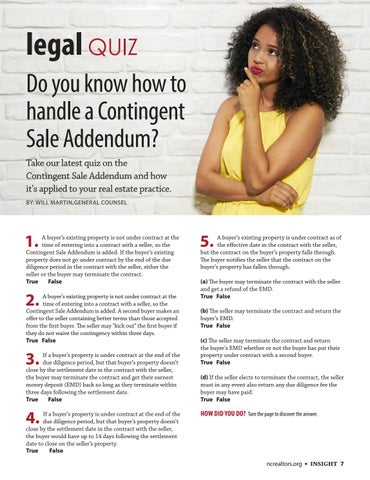 Page 7 of Legal Quiz | Do you know how to handle a Contingent Sale Agreement?
