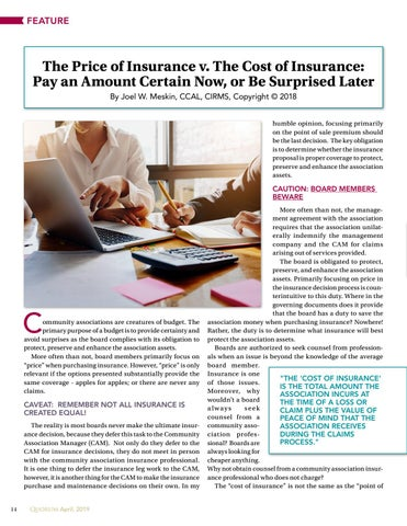Page 14 of The Price of Insurance v. The Cost of Insurance: Pay an Amount Certain Now, or Be Surprised Later