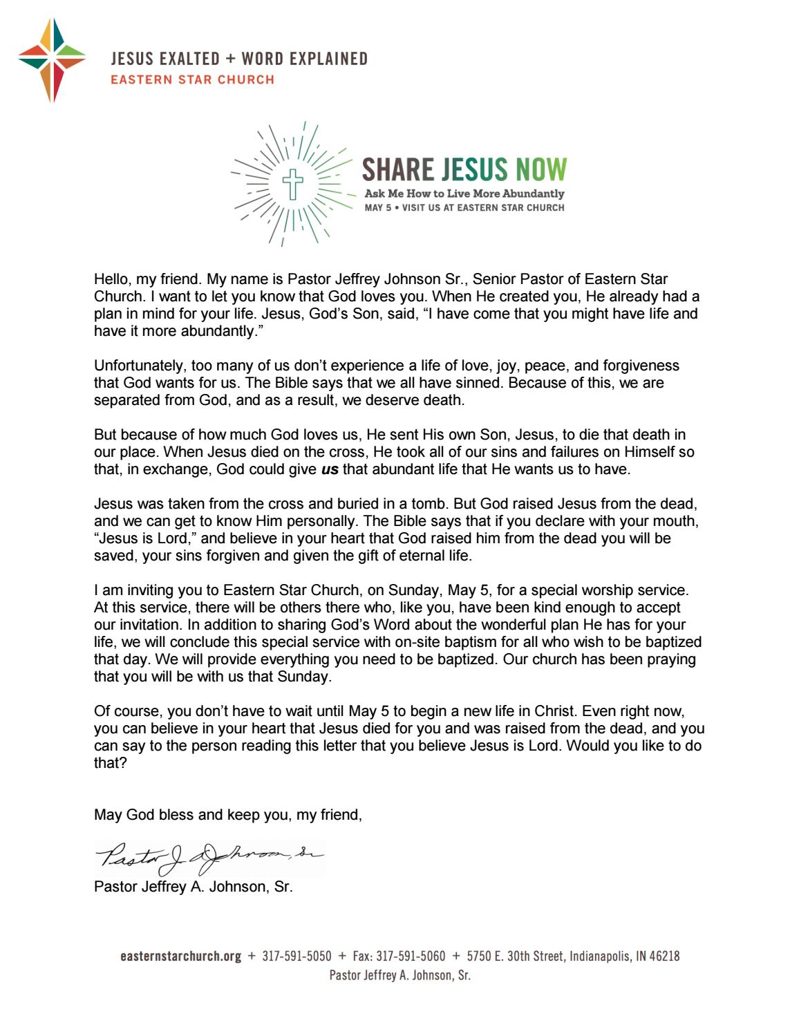 Share Jesus Now Letter by Eastern Star Church - issuu