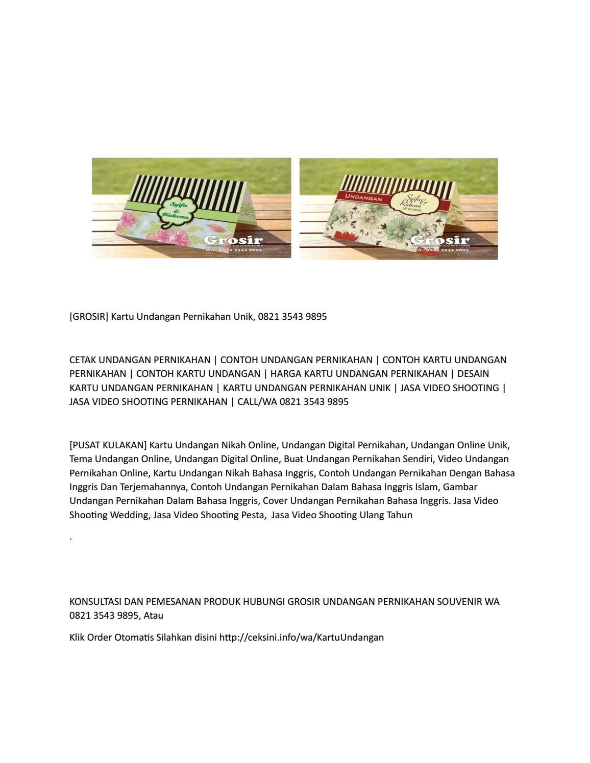 Grosir Kartu Undangan Pernikahan Unik 0821 3543 9895 By Cetakkartuundangansuper Issuu
