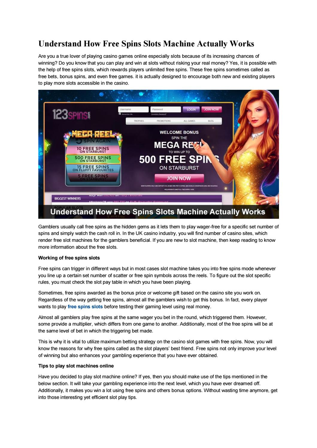 Understand How Free Spins Slots Machine Actually Works By 123 Spins Issuu