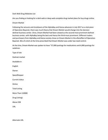 Dark Web Complete Drug Website List by Dark Guy - issuu