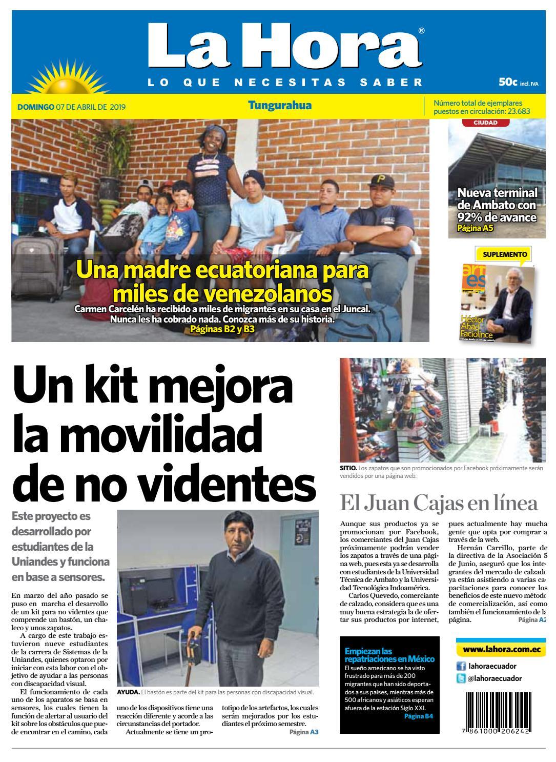 72d17d7f TUNGURAHUA 07 DE ABRIL DEL 2019 by Diario La Hora Ecuador - issuu