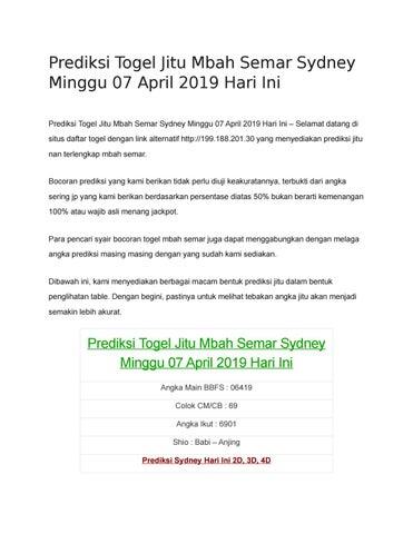 Prediksi Togel Jitu Mbah Semar Sydney Minggu 07 April 2019 Hari Ini