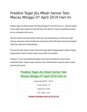 Prediksi Togel Jitu Mbah Semar Toto Macau Minggu 07 April 2019 Hari Ini By Prediksi Jitu Mbah Semar Issuu