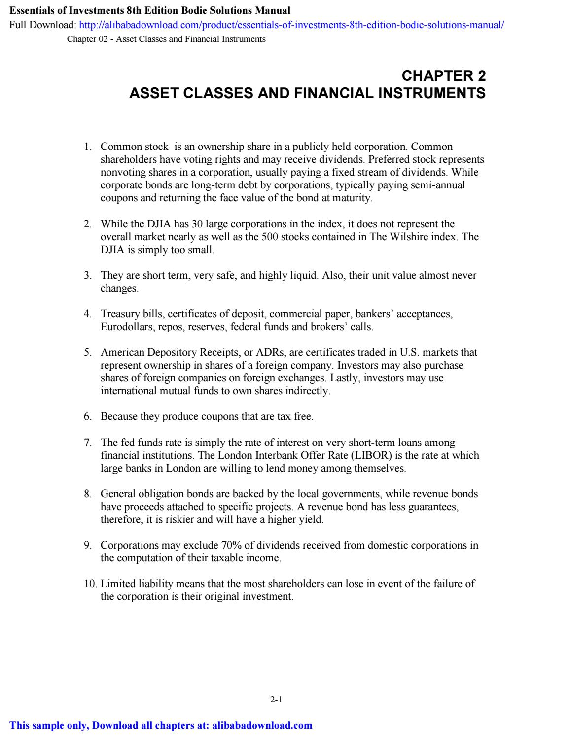 Essentials Of Investments 8th Edition Bodie Solutions Manual By Julie Issuu