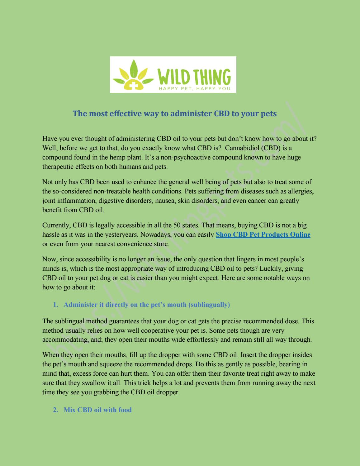 The most effective way to administer CBD to your pets by