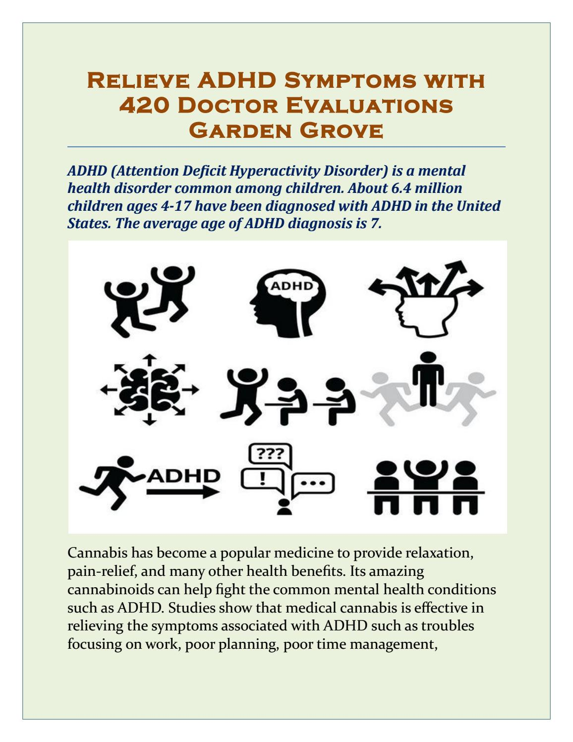 Adhd More Prevalent Among Poor >> Relieve Adhd Symptoms With 420 Doctor Evaluations Garden