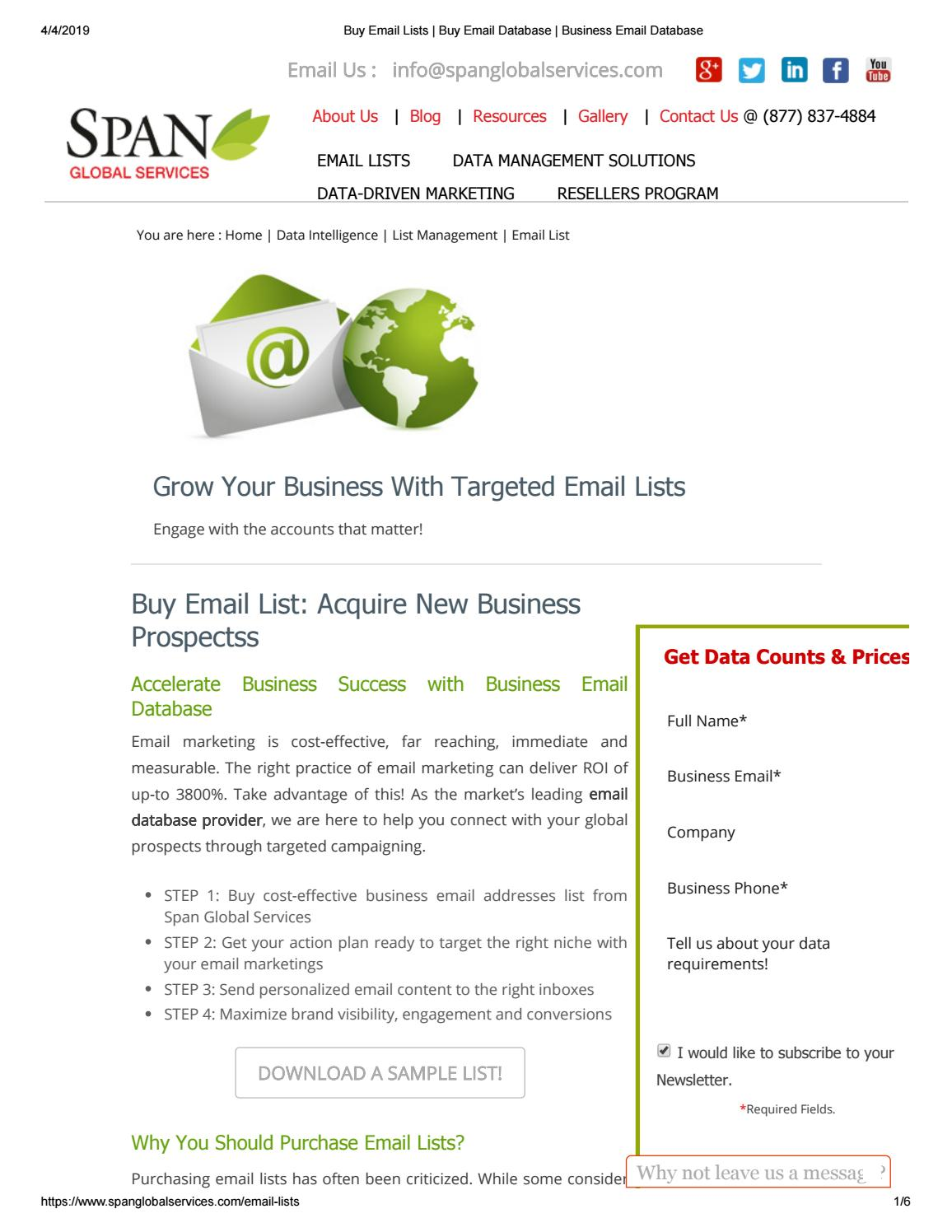 Purchase Email Lists - Span Global Services by dianejack112