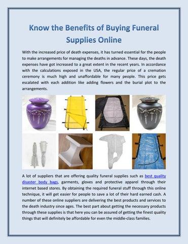 Mortuary Supplies