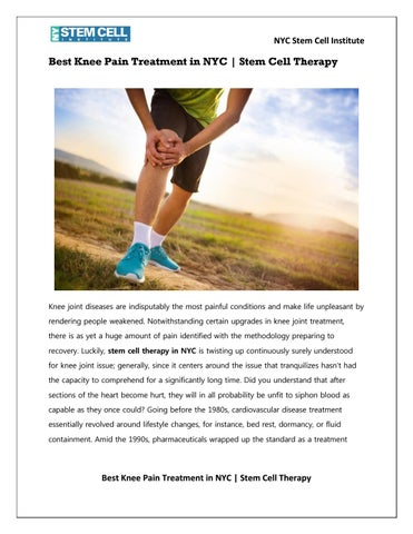 Best Knee Pain Treatment in NYC | Stem Cell Therapy by