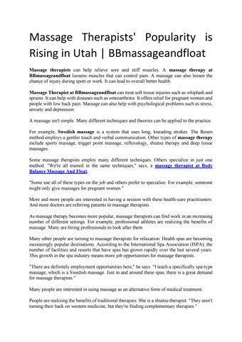 Massage Therapists' Popularity is Rising in Utah