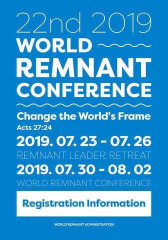 2019 World Remnant Conference Registration Information