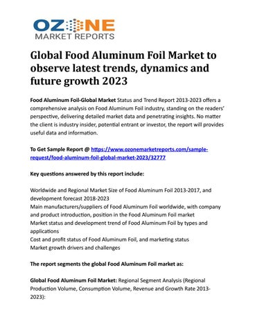 Global Food Aluminum Foil Market to observe latest trends, dynamics