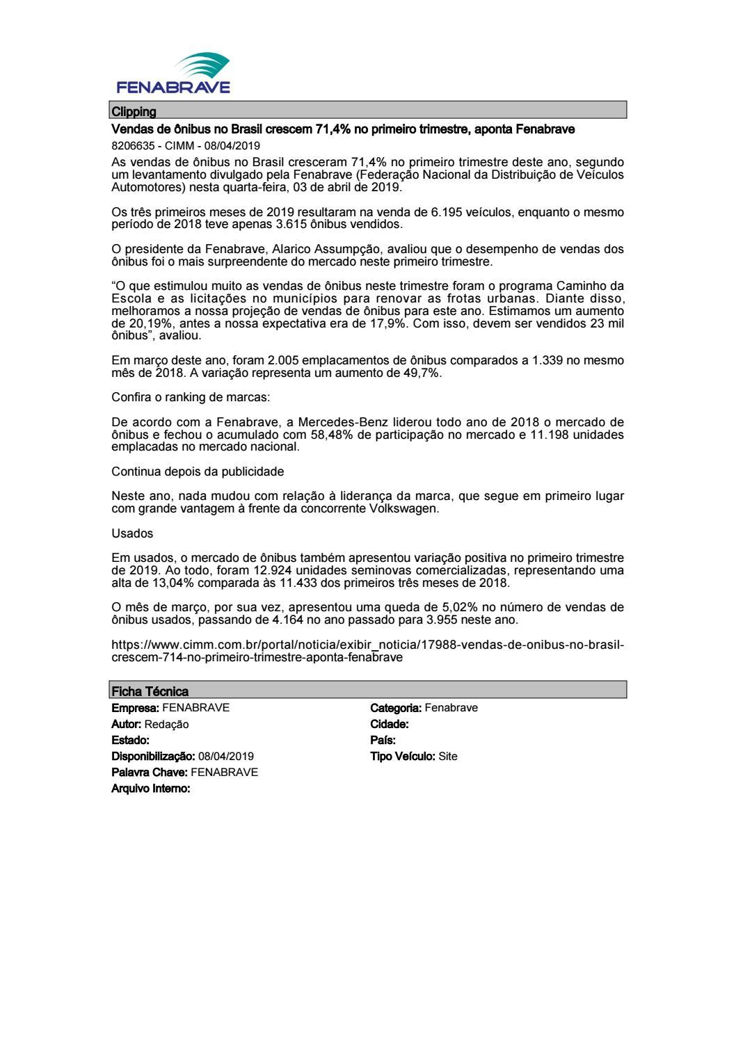 3cb176e8c13 Clipping Fenabrave - 08 04 2019 by MCE Comunicação - issuu