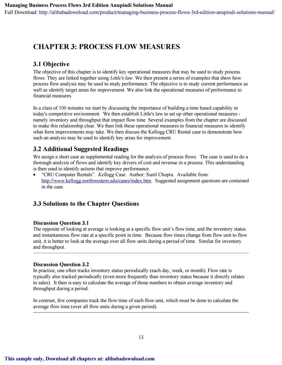 Managing Business Process Flows 3rd Edition Anupindi