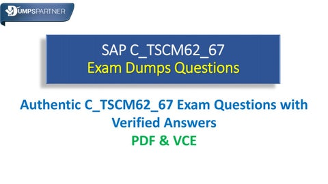 d7a2a5449 100% Success Rate with SAP C_TSCM62_67 Cheat Sheet Dumps Questions