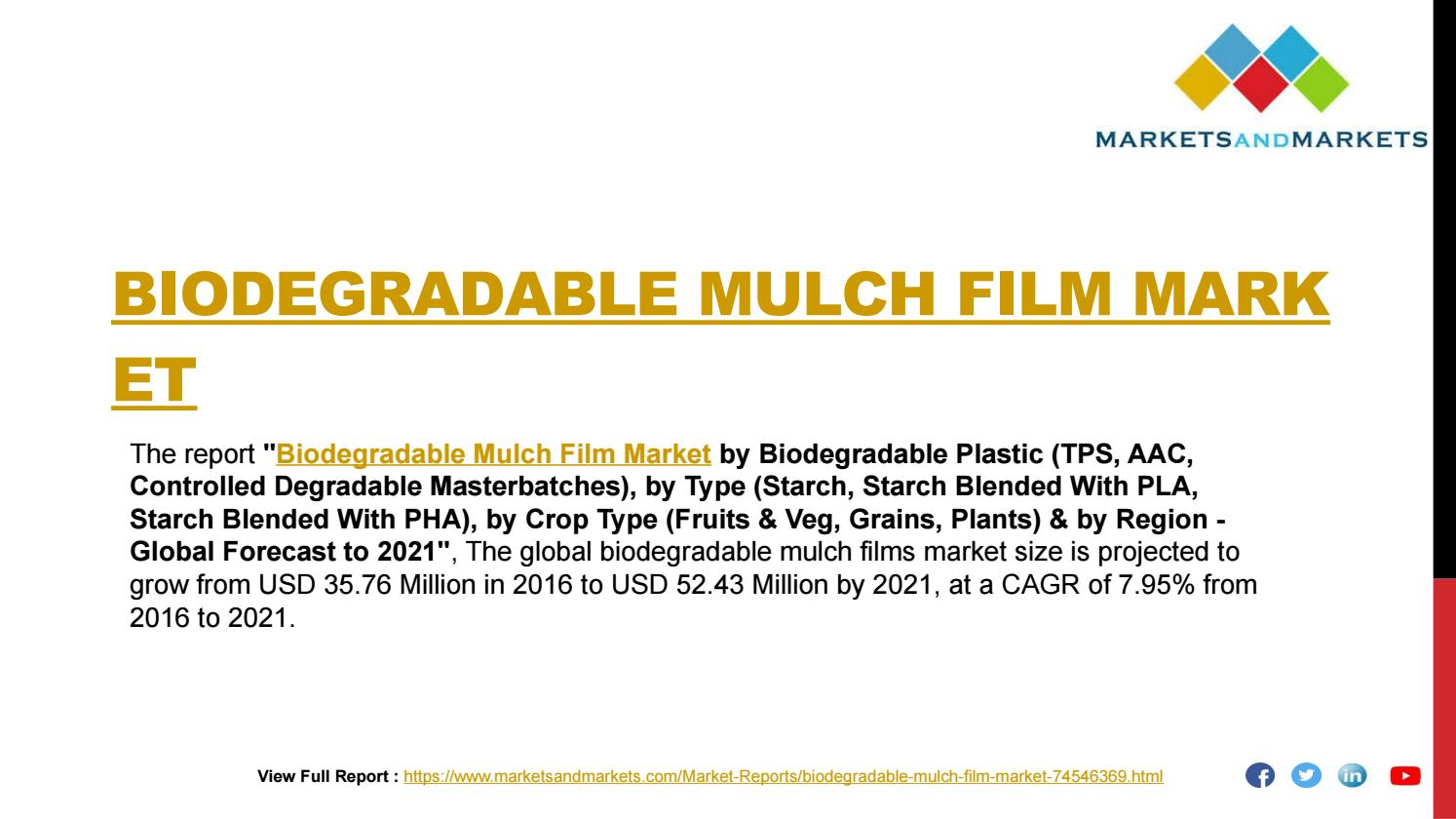 Biodegradable Mulch Film Market worth 52 43 Million USD by