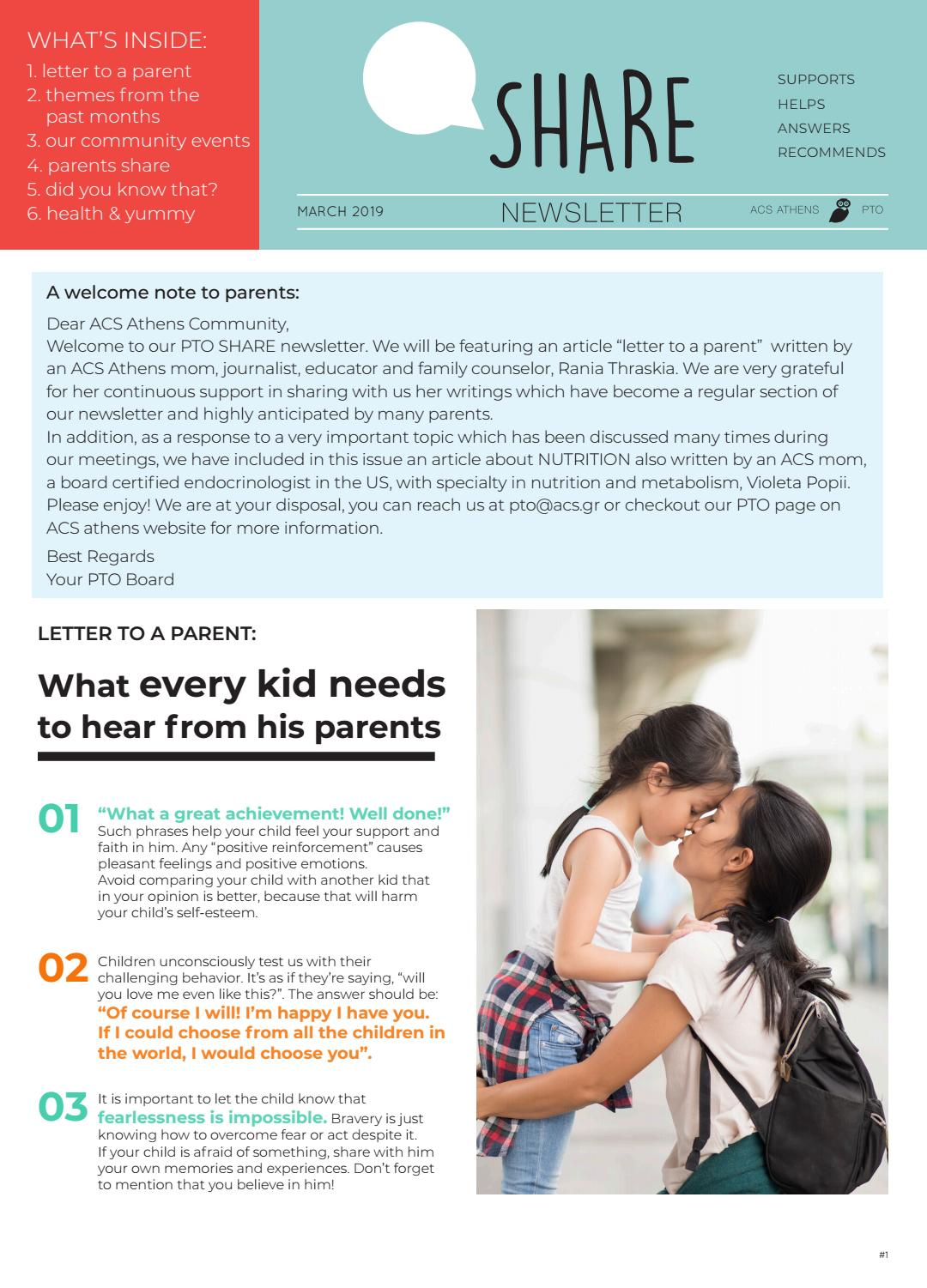 We Need To Hear From All Parents And >> Pto Share Newsletter March 2019 By Acs Athens Issuu