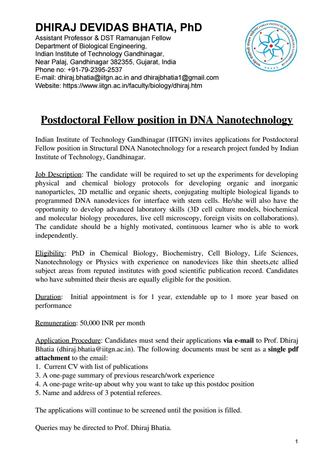 PhD Cell Biology & Life Sciences Postdoctoral Fellow Post @ IIT