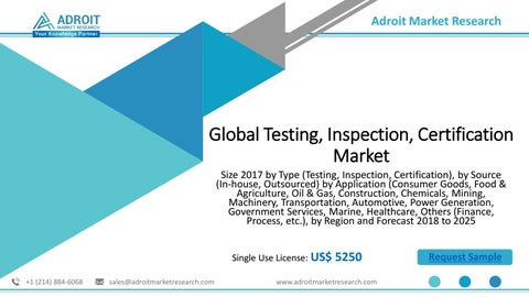Global Testing, Inspection, Certification Market Size, Share, Analysis &  Forecast 2025