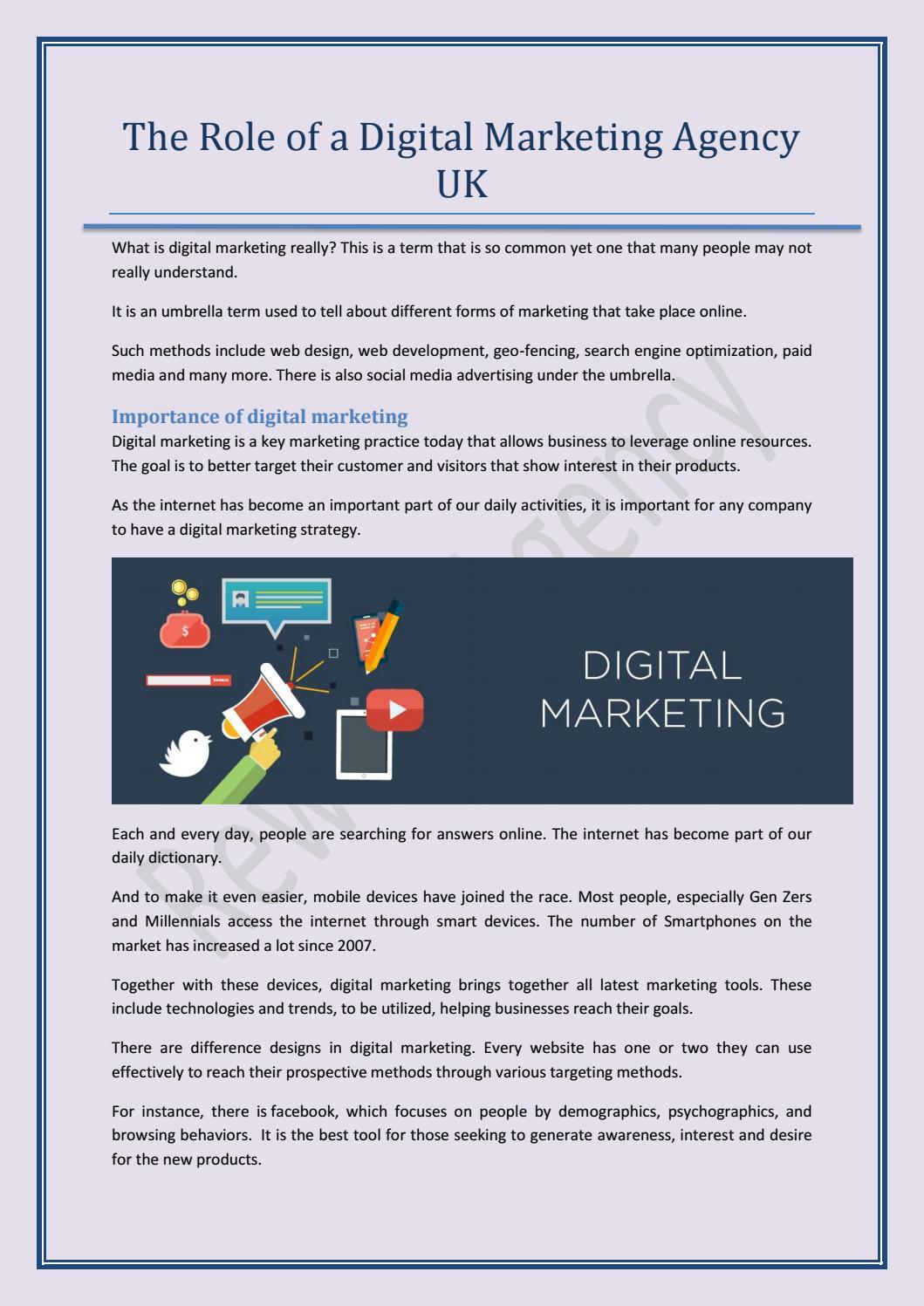 The Role of a Digital Marketing Agency UK by rewardmarketing