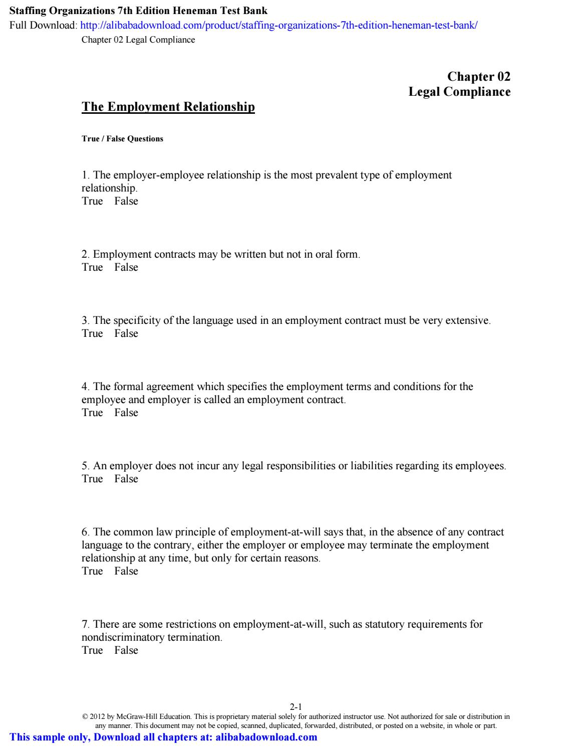 Staffing Organizations 7th Edition Heneman Test Bank by