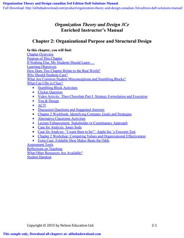 Organization Theory And Design Canadian 3rd Edition Daft Solutions Manual By Gardner Issuu
