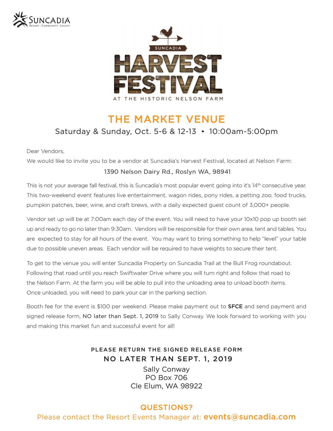 Suncadia Vendor Application, Harvest Festival by Suncadia Resort - issuu
